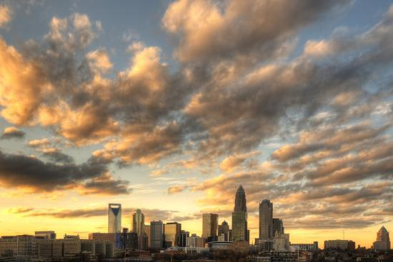 Skyline of Uptown Charlotte, North Carolina under Dramatic Cloud Cover.-SeanPavonePhoto-Photographic Print