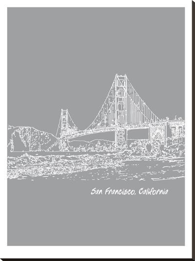 Skyline San Francisco 2-Brooke Witt-Stretched Canvas Print