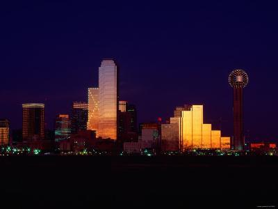 Skyline View of Buildings and High-Rises at Sunset in Dallas, Texas--Photographic Print