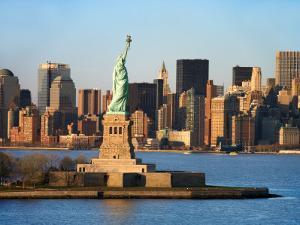 Skyline View of Manhattan, New York with the Statue of Liberty Landmark