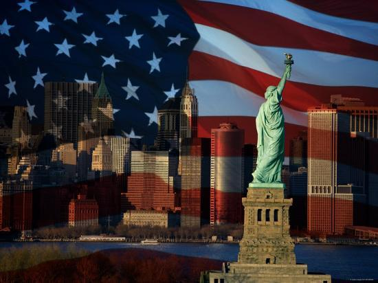 Skyline View with the Statue of Liberty Landmark and American Flag Background in New York City--Photographic Print