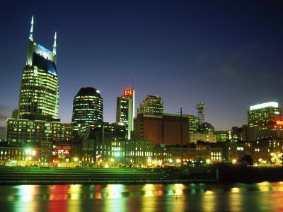 Skyline with Reflection in Cumberland River-Barry Winiker-Photographic Print