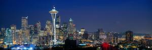Skyline with Space Needle at dusk, Seattle, King County, Washington State, USA