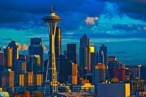 Skyline with Space Needle in Seattle, King County, Washington State, USA