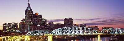 Skylines and Shelby Street Bridge at Dusk, Nashville, Tennessee, USA 2013--Photographic Print