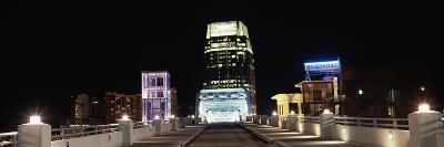 Skylines and Shelby Street Bridge at Night, Nashville, Tennessee, USA 2013--Photographic Print