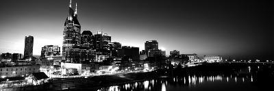 Skylines at Night Along Cumberland River, Nashville, Tennessee, USA--Photographic Print