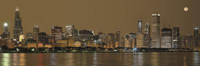 Skylines at the Waterfront at Night, Chicago, Cook County, Illinois, USA