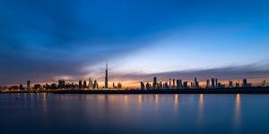 Skylines at the Waterfront at Sunset, Dubai, United Arab Emirates 2013