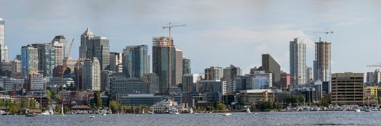 Skylines at the waterfront, Lake Union, Seattle, King County, Washington State, USA--Photographic Print