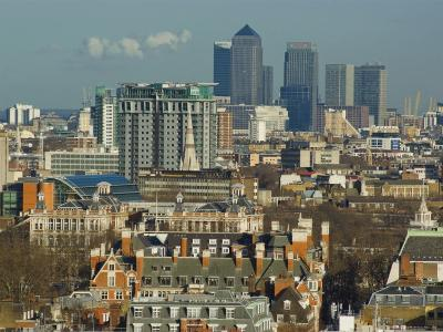 Skylines with Canary Wharf and Offices, London, England, United Kingdom-Charles Bowman-Photographic Print