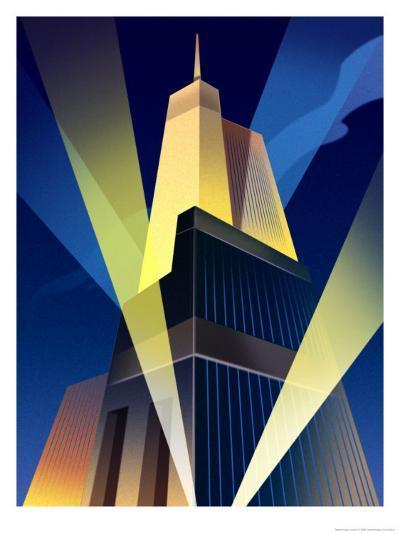 Skyscraper with Spotlights--Art Print