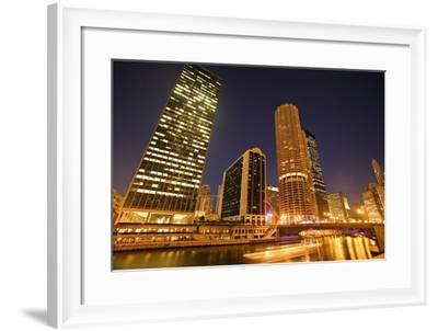 Skyscrapers Along Chicago River at Night-Design Pics Inc-Framed Photographic Print