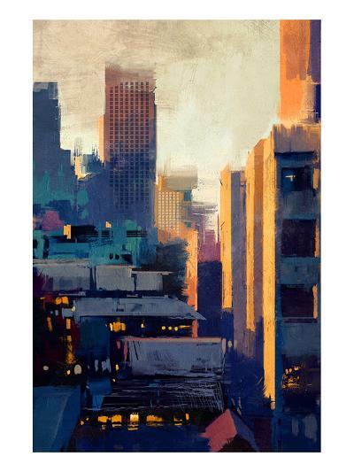 skyscrapers at sunset--Art Print