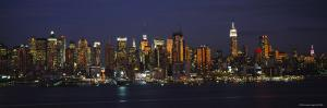 Skyscrapers in Manhattan Lit Up at Night, New York City, New York, USA