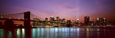 Skyscrapers Lit Up at Night, World Trade Center, Lower Manhattan, Manhattan, New York City, New ...--Photographic Print
