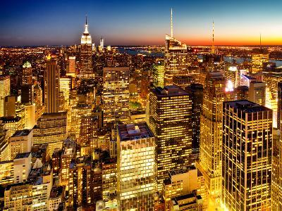 Skyscrapers View, Cityscape by Night, Manhattan, New York City, United States, Color Sunset-Philippe Hugonnard-Photographic Print