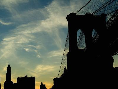 Skyward View of the Brooklyn Bridge Silhouetted Against a Blue Sky-Todd Gipstein-Photographic Print