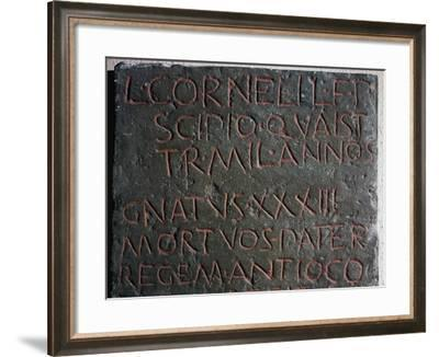 Slab from Lucius Cornelius Scipio's Sarcophagus from Tomb of Scipios, Via Appia, Rome, Italy BC--Framed Giclee Print