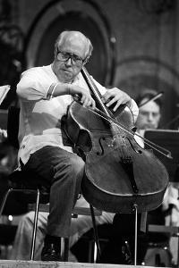 Slava Rostropovich Playing the Cello on a Stage