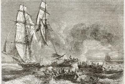 Slaver Vessel Escaping From Military Ship Getting Rid Of Slaves-marzolino-Art Print