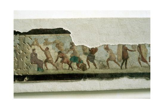 Slaves building a wall watched by a taskmaster, Roman. Artist: Unknown-Unknown-Giclee Print