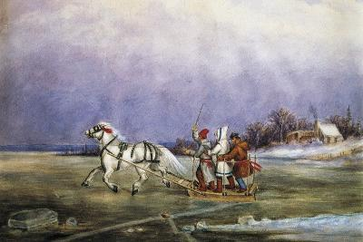 Sled Being Pulled by Horse across Frozen Lake, by Cornelius Krieghoff (1815-1872)--Giclee Print