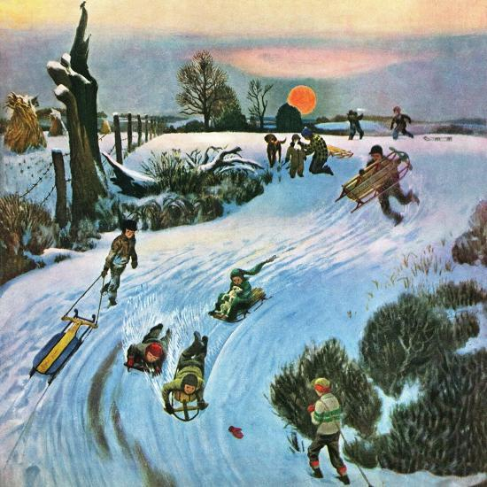 """Sledding by Sunset,"" December 18, 1948-John Falter-Premium Giclee Print"