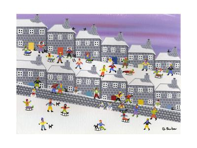 Sledding in the Streets-Gordon Barker-Giclee Print