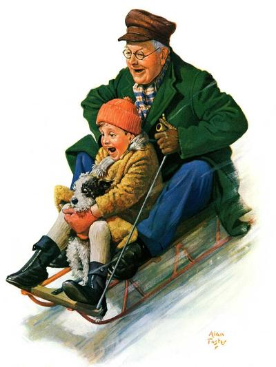 """Sledding with Grandpa,""February 8, 1930-Alan Foster-Giclee Print"