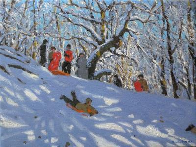 Sledging in Allestree Woods, 2011-Andrew Macara-Giclee Print