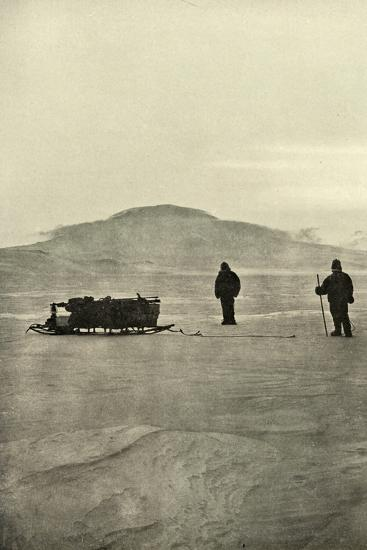 'Sledging on the Barrier Before the Return of the Sun', c1908, (1909)-Unknown-Photographic Print