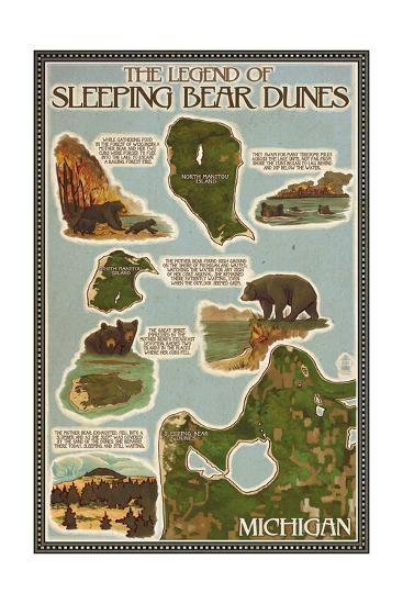 Sleeping Bear Dunes, Michigan - Sleeping Bear Dunes Legend Map-Lantern Press-Art Print