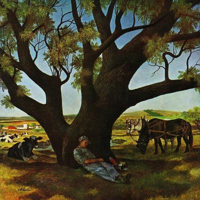 """Sleeping Farmer,"" August 23, 1947-John Atherton-Giclee Print"
