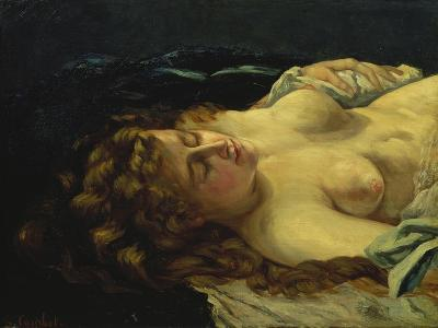 Sleeping Female with Red Hair-Gustave Courbet-Giclee Print