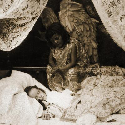 Sleeping Girl Being Watched over by Her Guardian Angel , 1898--Giclee Print