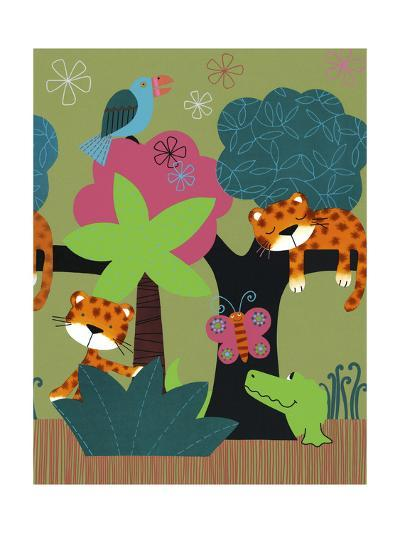 Sleeping Leopards and Crocodile--Art Print