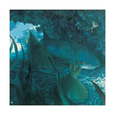 Sleeping Sharks in Cave, 1975-Stanley Meltzoff-Giclee Print
