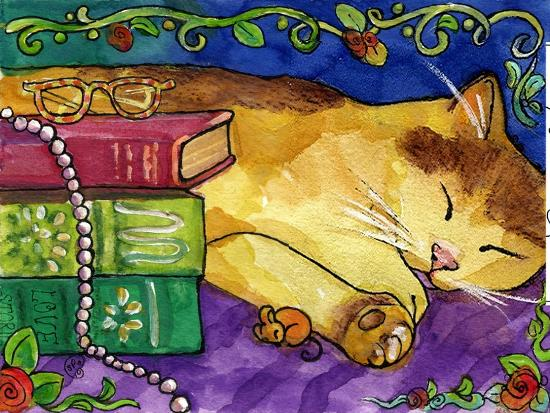 Sleeping Tabby Cat-sylvia pimental-Art Print