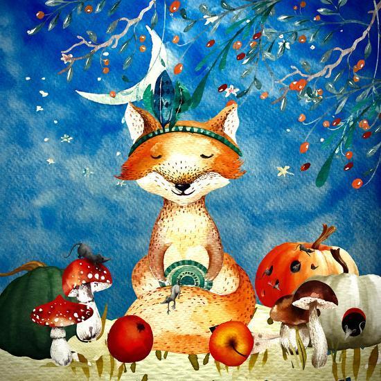 Sleepy Fox In Autumnal Forest--Art Print