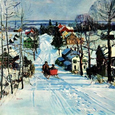 """Sleigh on Snowy Village Street,""February 1, 1931-Walter Baum-Giclee Print"