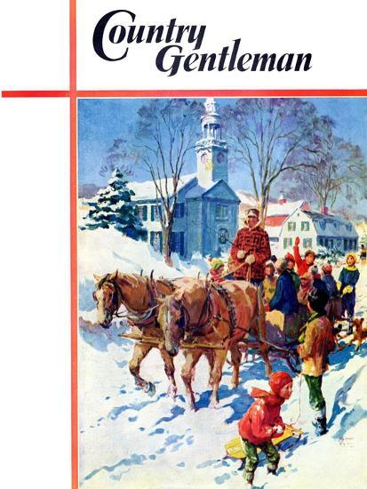 """""""Sleigh Ride Through Town,"""" Country Gentleman Cover, December 1, 1939-William Meade Prince-Giclee Print"""