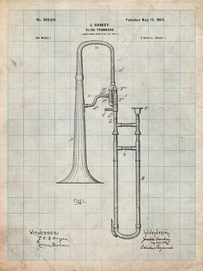 Slide Trombone Instrument Patent-Cole Borders-Art Print