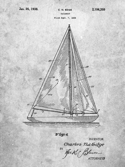 Sloop Sailboat Patent-Cole Borders-Art Print