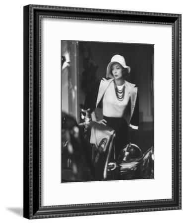 Slouch Hat in Garbo Tradition Made of White Satin For Cocktail Outfit-Gordon Parks-Framed Premium Photographic Print