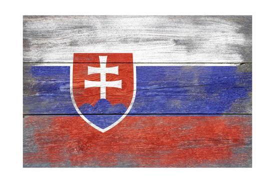 Slovakia Country Flag - Barnwood Painting-Lantern Press-Art Print