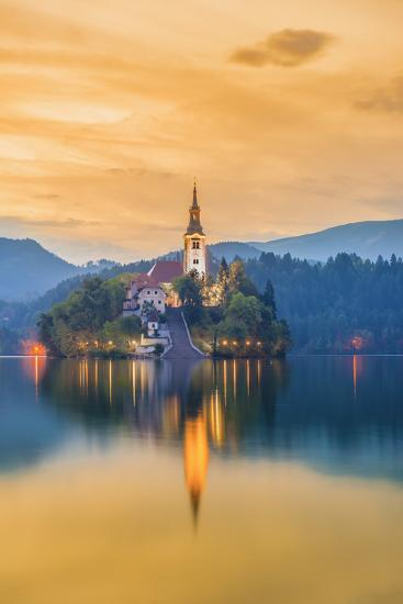 Slovenia, Julian Alps, Upper Carniola, Bled, Lake Bled, Bled Island (Blejski Otok) with Church-Alan Copson-Photographic Print