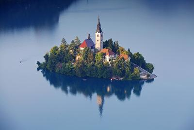Slovenia, Julian Alps, Upper Carniola, Lake Bled. Aerial View of the Island on Lake Bled-Ken Scicluna-Photographic Print