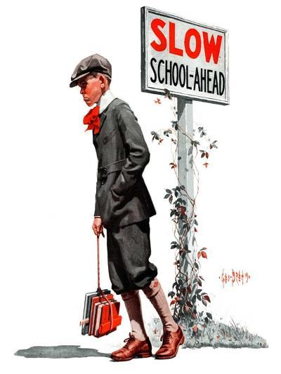 """""""Slow, School Ahead,""""September 5, 1925-George Brehm-Giclee Print"""
