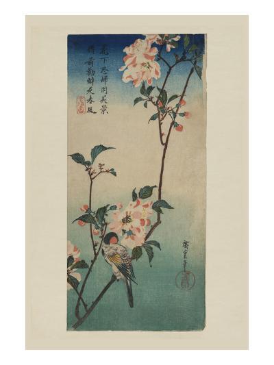 Small Bird on a Branch of Kaidozakura (Kaido Ni Shokin)-Ando Hiroshige-Art Print